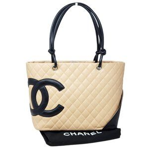 AUTH CHANEL CAMBON LINE LEATHER TOTE BAG
